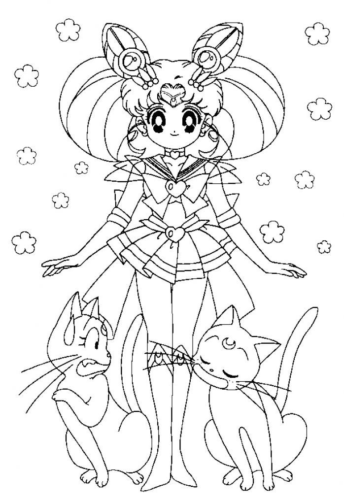 Coloriage Fille Et Chat.Coloriage Sailor Moon Et Chats A Imprimer